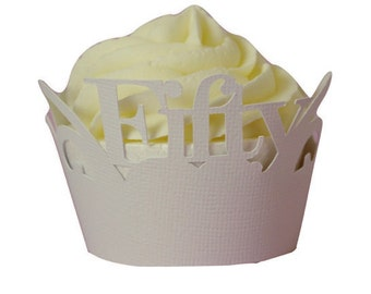 White Fifty Cupcake Wrappers, Set of 12, Birthday, White Texture, Cupcake Decor, Handcrafted Party Decor, Party Supplies