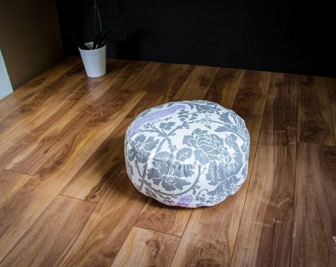Washable Zafu Meditation cushion Lilac Bird and gray cotton pouf organic Buckwheat pillow by Creations Mariposa