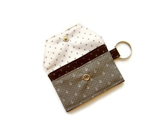 Mini key chain wallet/ Key chain pouch/ Business card holder/ keychain coin purse/ Anchors/ Spray/ Gray and Black and White