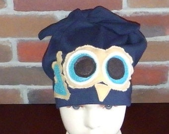 Blue owl Chemo headwear,kids toque,headcover,hair loss,alopecia,hat,child,boy,teen,winter, spring and fall handmade