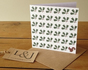 Nature card - acorn & squirrel greeting card - woodland cards