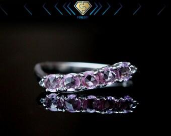 Pink Sapphire ring. Peach Sapphire ring. Pink Sapphire solitaire ring. Sapphire ring. Engagement ring.Peach Sapphire engagement ring.