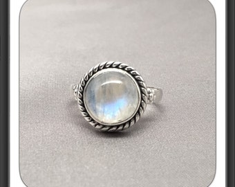 Naturally Glowing Moonstone Sterling Silver Rope Solitaire Ring