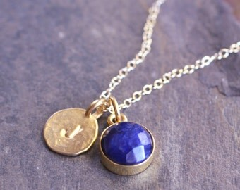 Sapphire Initial Vermeil Thick Bezel Gold Fill Necklace-Round Raw Sapphire Gold Letter Disc Necklace Birthstone Personalized-Blue Gemstone