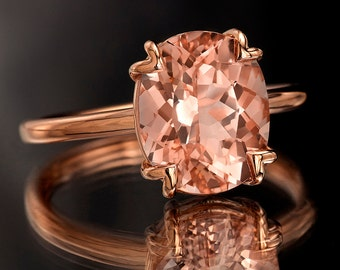Peach Pink Morganite Rose Gold Ring, Oval Cut Tulip Solitaire Engagement Ring in Rose Gold