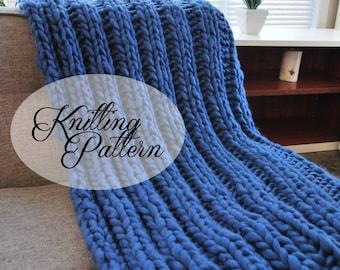 Extreme Knitting Blanket Pattern : Pattern chunky knit blanket Etsy