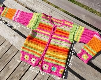 Crochet Girls Jacket/Girls Front Buttoned Sweater/6-10