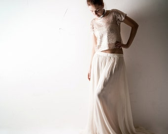 Boho Wedding dress, Sequin wedding dress, Blush wedding dress, Alternative wedding dress, Crop top wedding dress, Hippie boho dress