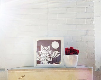Brown Owl signed paper print 9 Inch Silk Screened Art Print on white Paper