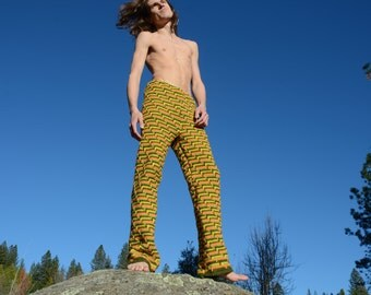 Crochet Pants Soft Fluffy Green Yellow and Orange Psychedelic Ladder Crochet