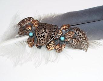 Vintage Copper Brooch | Filigree Brooch | Wedding Jewelry | Leaf Flower Pin | Turquoise Blue Beaded Brooch
