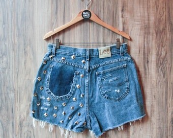 Lee high waist vintage studded denim shorts Size 14 | Ripped distressed shorts | Silver pyramid studded | Hipster festival shorts |