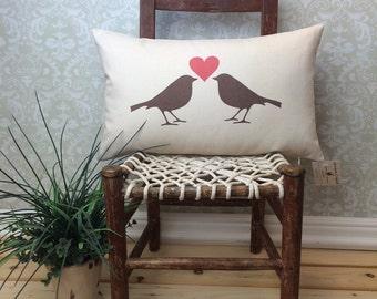 Love Birds Pillow, Valentines Pillow, Bird Silhouette, Decorative Pillow, Wedding Gift, Home Decor Pillow,