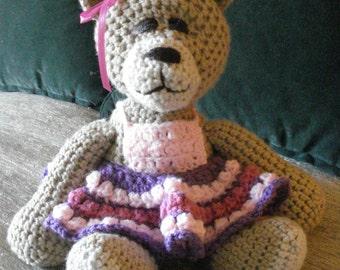 "Crocheted teddy bear stuffed animal doll toy ""Rosemary"""