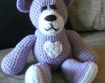 "Crocheted teddy bear stuffed animal doll toy ""Lonnie"""