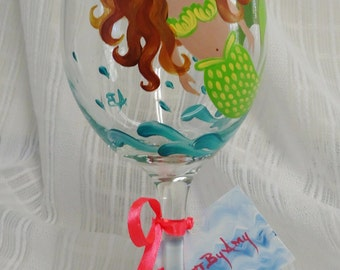 Painted wine glasses, Mermaid glasses,Custom wine glasses,Mermaids,Painted wine glass,Wine glasses,Beach wine glasses,Fun wine glasses 20 oz