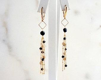 Modern Geometric Dangling Gemstone Chandelier Earrings, Black Spinel 14K Gold Fill Long Lever Back Chain Earrings Fine Jewelry by Life Bijou