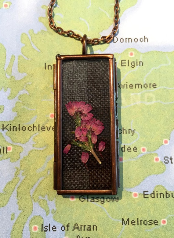 Outlander Copper Necklace Fraser Tartan & Scottish Heather Pendant Locket - Jewelry Claire Gabaldon Scotland FT14