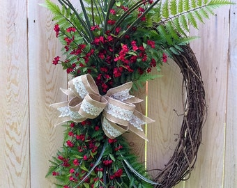 Oval Grapevine Wreath, Everyday Wreath, Spring, Summer, Winter, Fall, Gift
