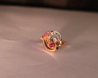 Ring,14k rose gold,Art Deco, Diamonds & Rubies. Circa 1930's