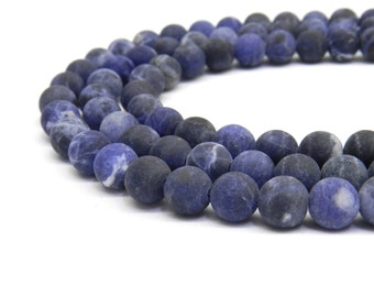 Sodalite Beads, Sodalite, Matte Beads, Beads for Jewelry Making, Blue Beads 8mm Beads 6mm Beads, Natural Beads, Frosted Beads, Blue Sodalite