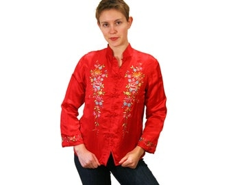 For the Empress, 70s Asian Blouse M, Embroidered Chinese Top, Crimson Red Asian Blouse, Silk Mandarin Vintage Shirt, Asian Top