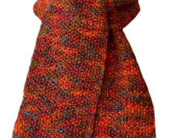 Hand Knit Scarf - Zitron Red Orange Wool