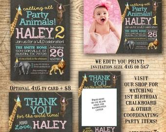 1st birthday party invitation - Safari party Invitation - Party animals birthday party invite - Zoo wild animals - Chalkboard you print