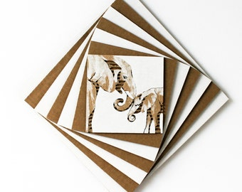MADE TO ORDER Cardboard Elephant or Giraffe Art with Spiral Frame - White Tan Sand Brown - Home and Nursery Decor / Baby Shower Gift
