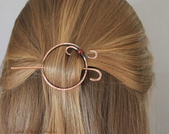 Circle Hair Clip Copper, Pearl Hair Barrette Blue Red Bronze Hair Slide, Hair Pin, Metal, Gift for Her, Womens Gift, Unique Hair Jewelry