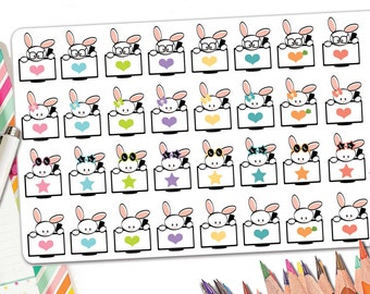 32 Bunny TV Planner Stickers | TV Show Planner Stickers With Kawaii Bunnies | Fits  Erin Condren and Most Other Planners