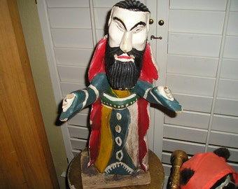 "Macabre Vintage Southwest/Colonial Wood Carved Folk Art Santos Primitive Naive Devotional Figure 22 1/2"" Carved Art."