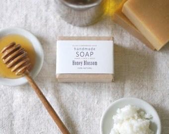 HONEY BLOSSOM - Ellie's Handmade Soap - 100% Natural + Cold Process Olive Oil Soap - 4 ounce bar