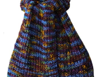 Hand Knit Scarf - Blue Purple Gold Silk Pearl Fence Rib