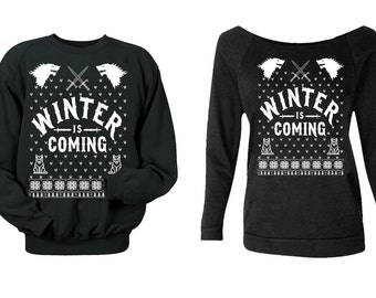 Winter Is Coming. Game of Thrones sweatshirt. house stark. Sweater. Jumper. Pulower. Wolf. Sword. Winterfell. Ugly Sweater.