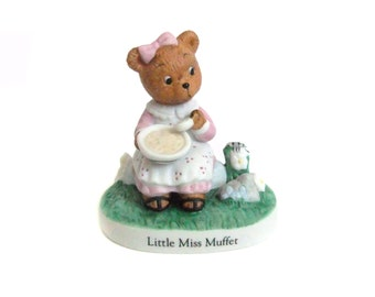 Little Miss Muffet Figurine, Nursery Rhyme Bears, Vintage Bear Figurine