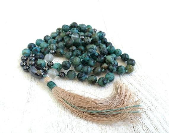 African Turquoise Tassel Mala, 108 Mala Beads Knotted, Turquoise Mala, Yoga Jewelry, Gemstone Mala Beads