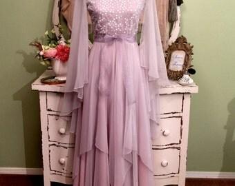 60s Chiffon Evening Dress, Long Silver Pink Gown, XS Small, Formal Vintage Dress, Black Tie Dress, Lilli Diamond, Decadent Sequin Boho Gown