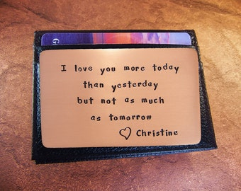 2nd Year Anniversary, rustic copper,  love reminder, wallet insert card, personalized, cool gift for men