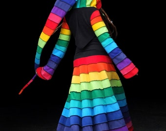 Deluxe rainbow Fleece 'Korrigan' Shrug. 24 stripe ultimate pixie hood / 12 stripe Sidhe sleeves