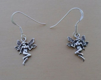 925 Sterling Silver Drop Dangling Guardian Angel Fairy Earrings