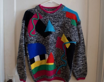 1980s Grandpa Sweater // Over Sized Geometric Sweater  // Exclusive Imports Brand Pullover
