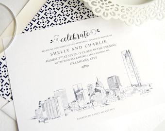 Oklahoma City Skyline Weddings Rehearsal Dinner Invitations (set of 25 cards)