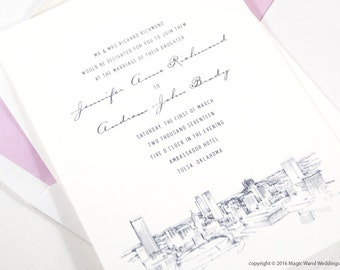 Tulsa Skyline Wedding Invitations Package (Sold in Sets of 10 Invitations, RSVP Cards + Envelopes)