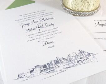 Denver Skyline Wedding Invitations Package (Sold in Sets of 10 Invitations, RSVP Cards + Envelopes)