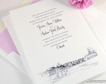 Boardwalk Resort Wedding Invitations, Orlando Destination Wedding, Disney World  (Sold in Sets of 10 Invitations, RSVP Cards + Envelopes)