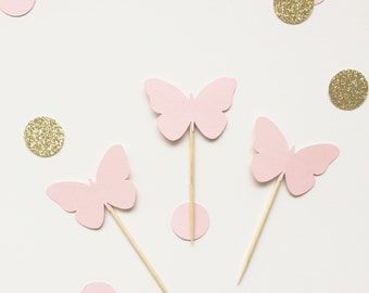Butterfly cupcake toppers 12 pack - available in your choice of colours