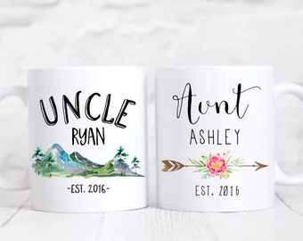 Aunt and Uncle mug set/pregnancy announcement/New baby/Uncle mug/Auntie/coffee mug/coffee mug/mug/coffee cup/DISHWASHER SAFE.