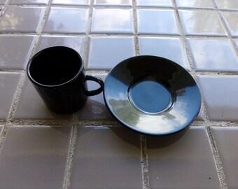 Espresso Demitasse Cup Set, Black Espresso cup, 1982 Espresso cup, 1982 prop, gift for her