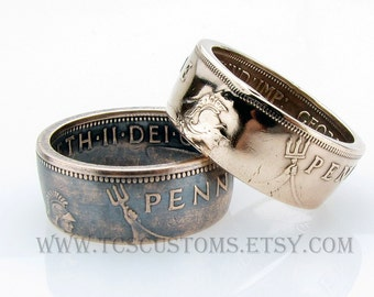 British One Penny Coin Ring, UK, Unique Ring, Coin Jewelry, Mens, Bronze, Copper, Band, Mans, Rings
